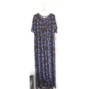 LuLaRoe Black Floral Maria T-shirt Maxi Dress